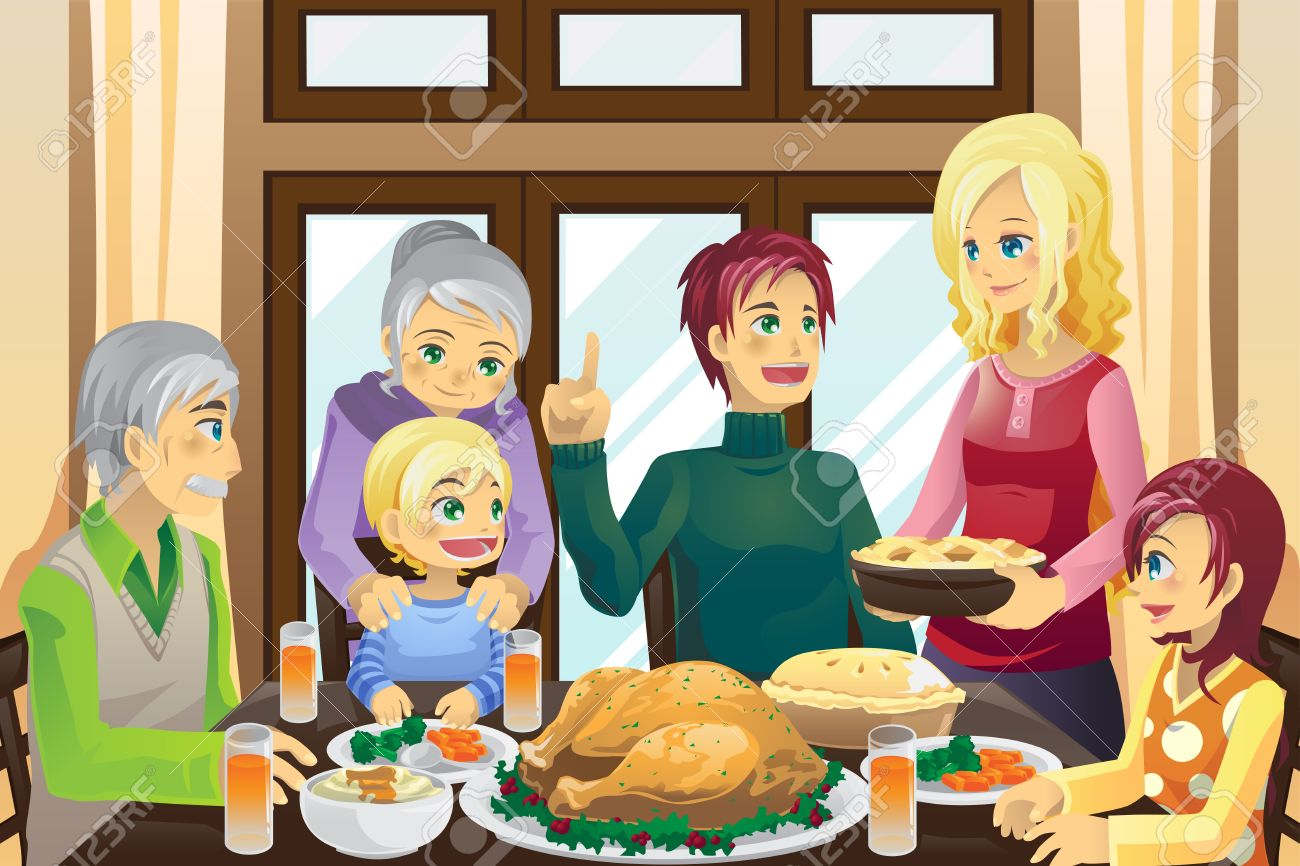 A Vector Illustration Of Family Having Thanksgiving Dinner Together Stock