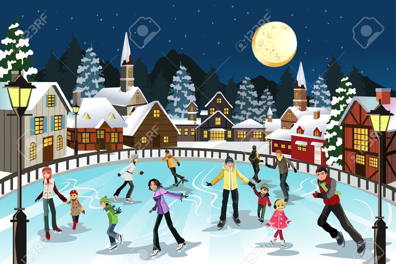 a vector illustration of people ice skating in an outdoor ice