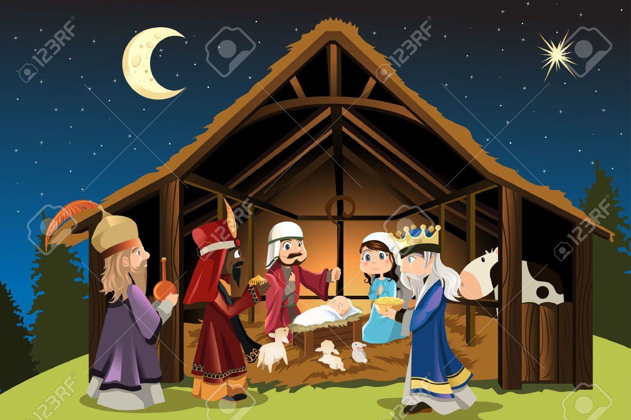 A Vector Illustration Of Christmas Concept Of The Birth Of Jesus ...