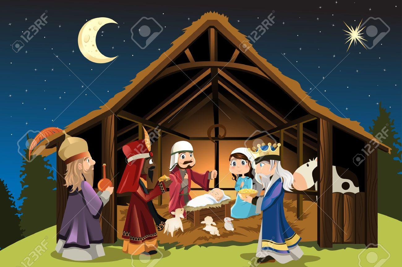 Dibujos De Navidad Del Nacimiento De Jesus.Una Ilustracion Vectorial Del Concepto De Navidad Del Nacimiento De Jesucristo Con Jose Y Maria Acompanado Por Los Tres Reyes Magos