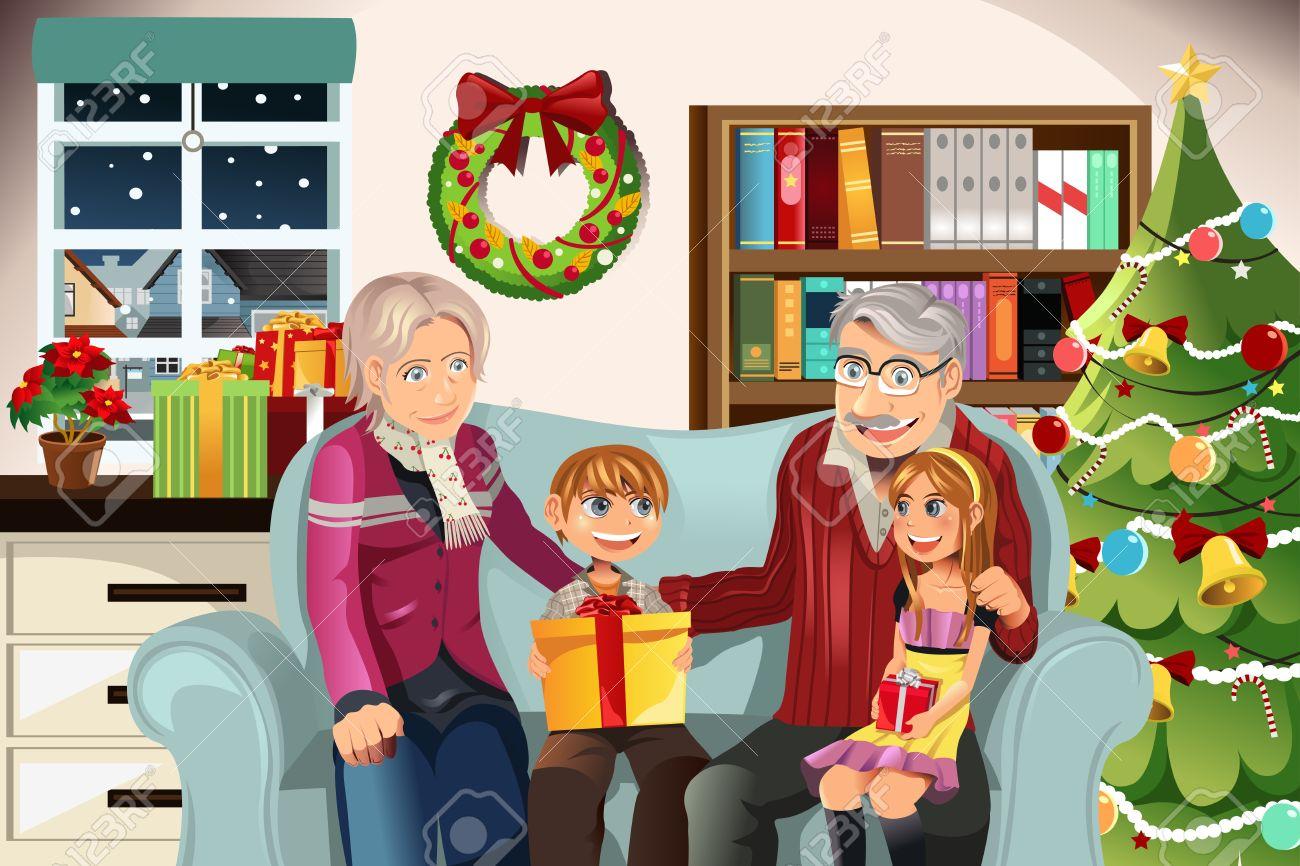Illustration Of Grandparents Giving Christmas Presents To Their  Grandchildren Stock Vector 10856735 Illustration Of Grandparents Giving