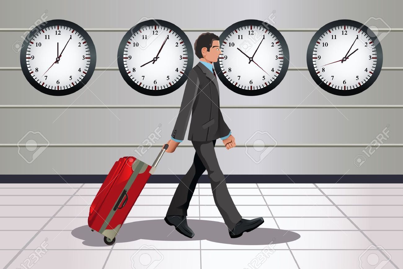 A illustration of a traveling businessman pulling a luggage in the airport with clocks showing different time in the background - 10856687