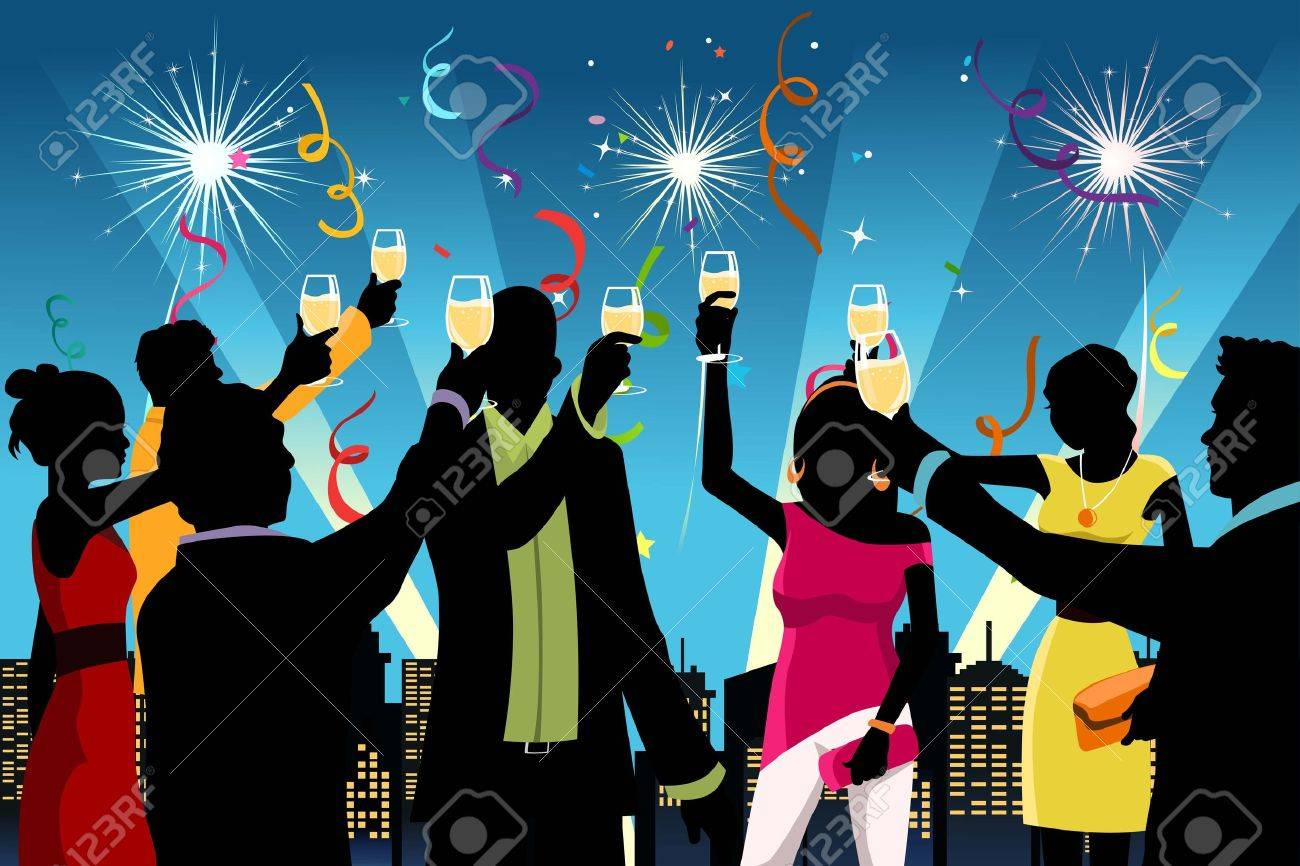 illustration of silhouette of young people having New Year Stock Vector - 10905663