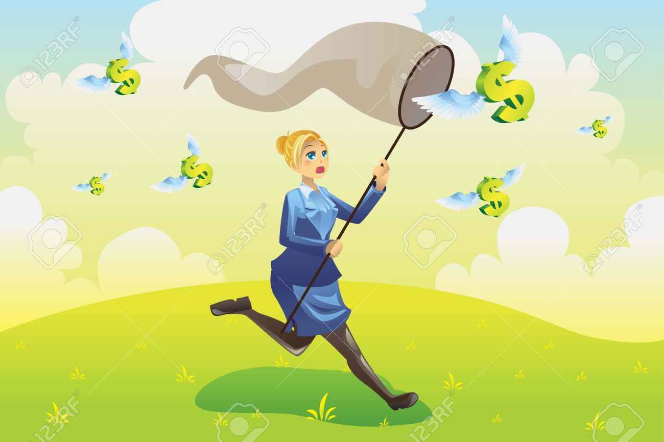 illustration of a business finance concept, a businesswoman running and catching flying dollars Stock Vector - 10905662