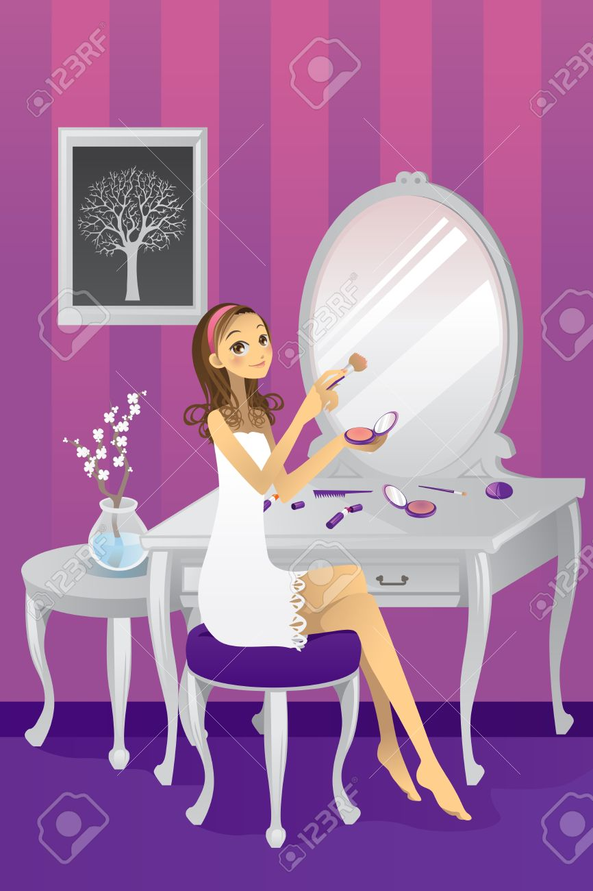 illustration of a beautiful girl applying makeup in her room Stock Vector - 10987452