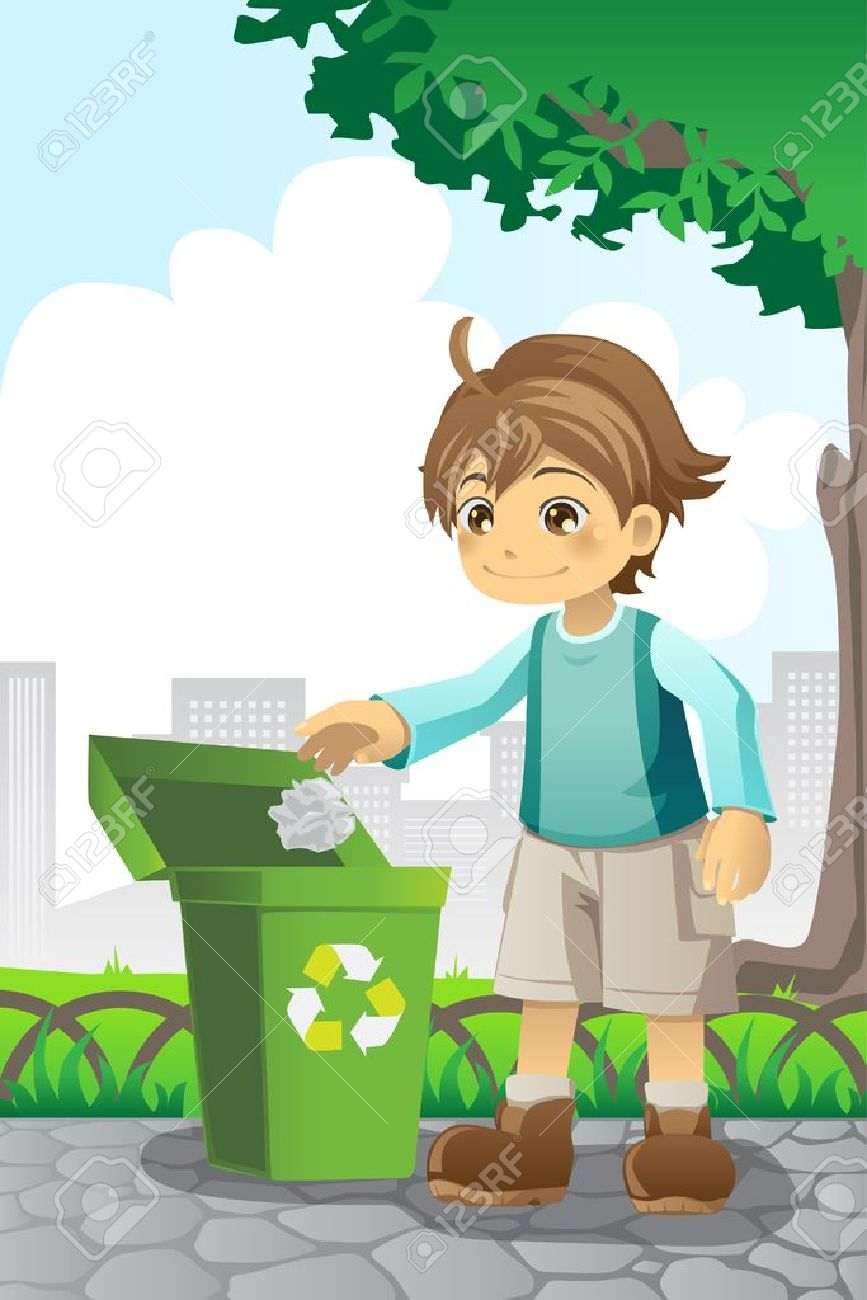 illustration of a boy recycling a piece of paper - 11121414