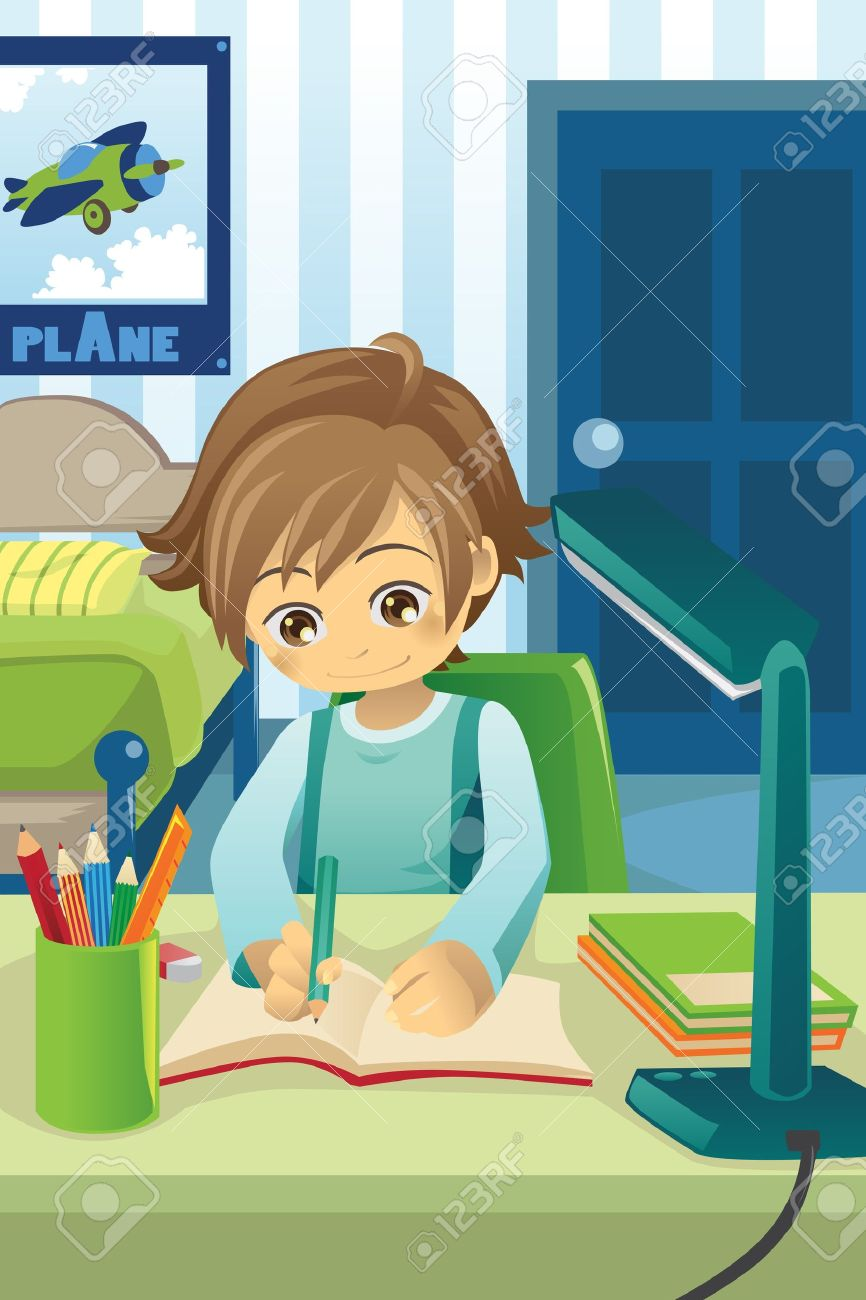 Vector   illustration of a kid studying and doing his homework in his  bedroom. Illustration Of A Kid Studying And Doing His Homework In His