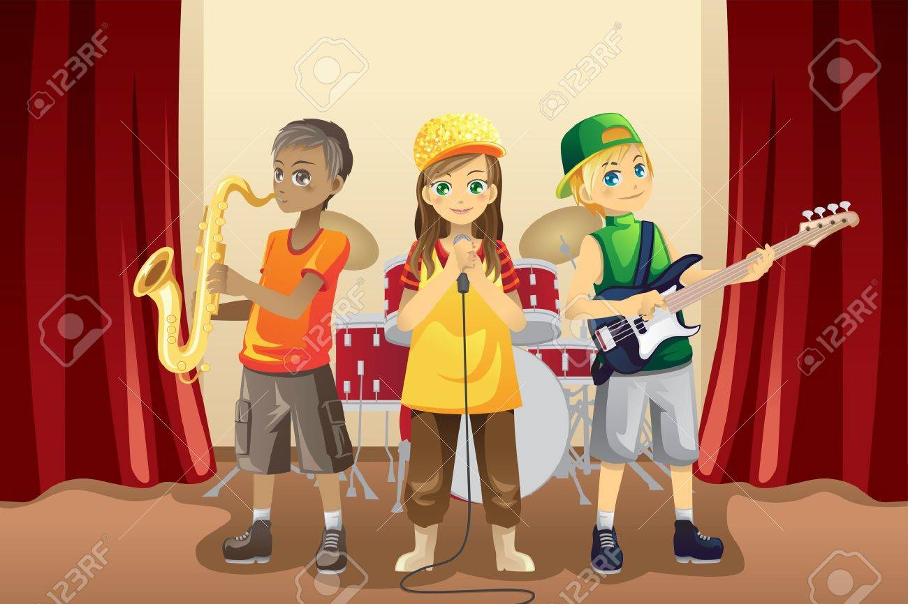A vector illustration of little kids playing music in a music band Stock Vector - 11271529