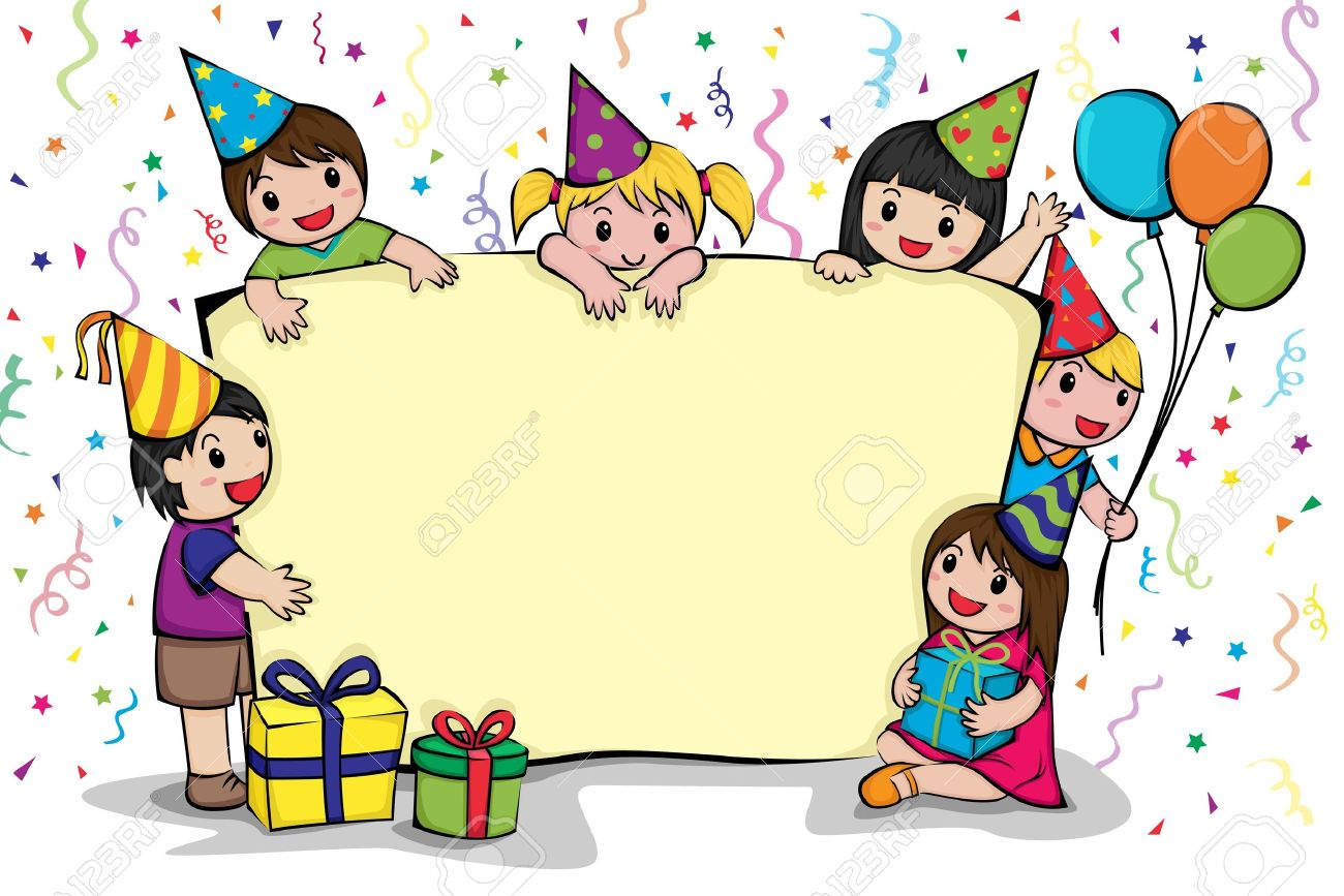 A Vector Illustration Of Birthday Party Invitation Card Stock
