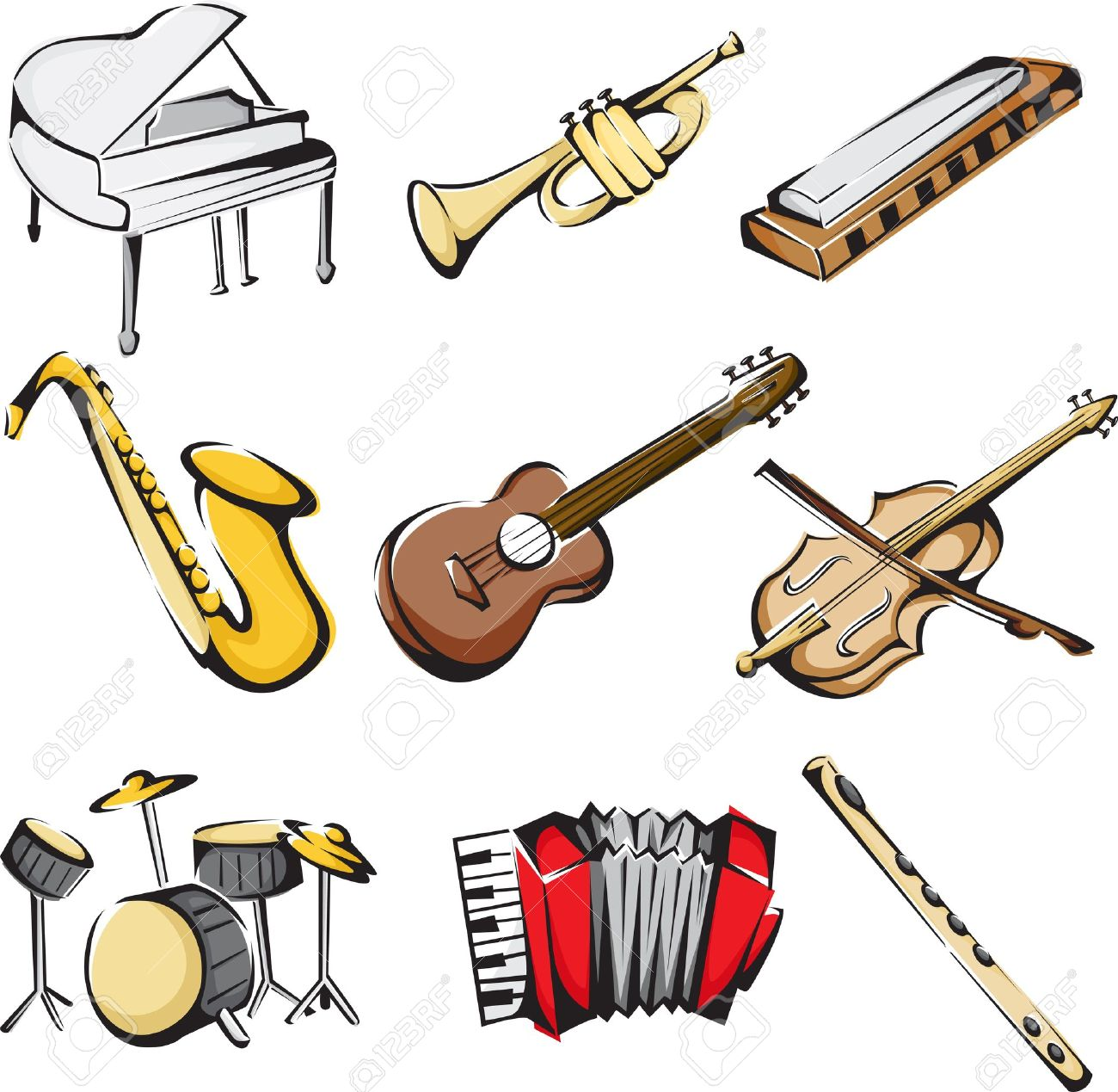 A vector illustration of different musical instruments icons - 11271510