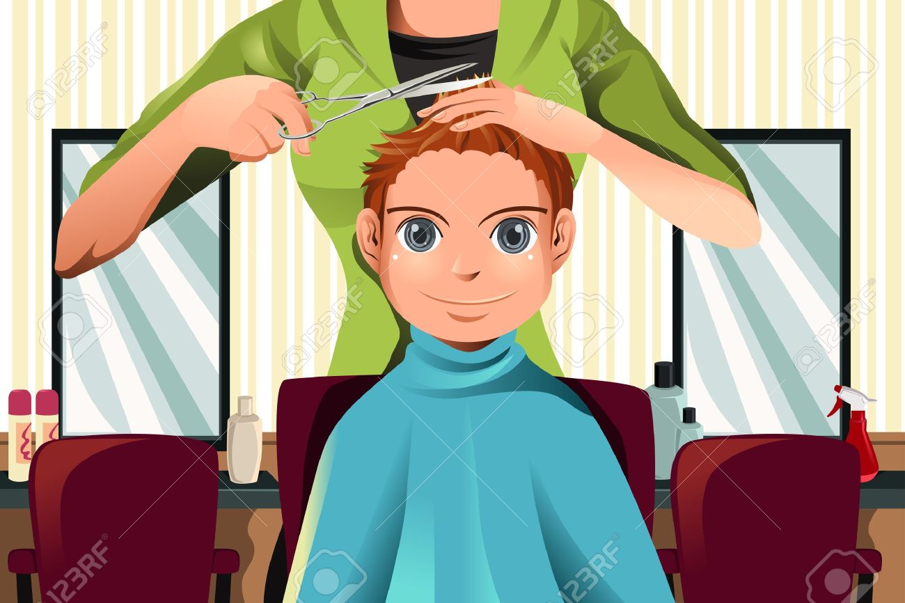 Getting a Haircut Cartoon Haircut Barber Cartoon