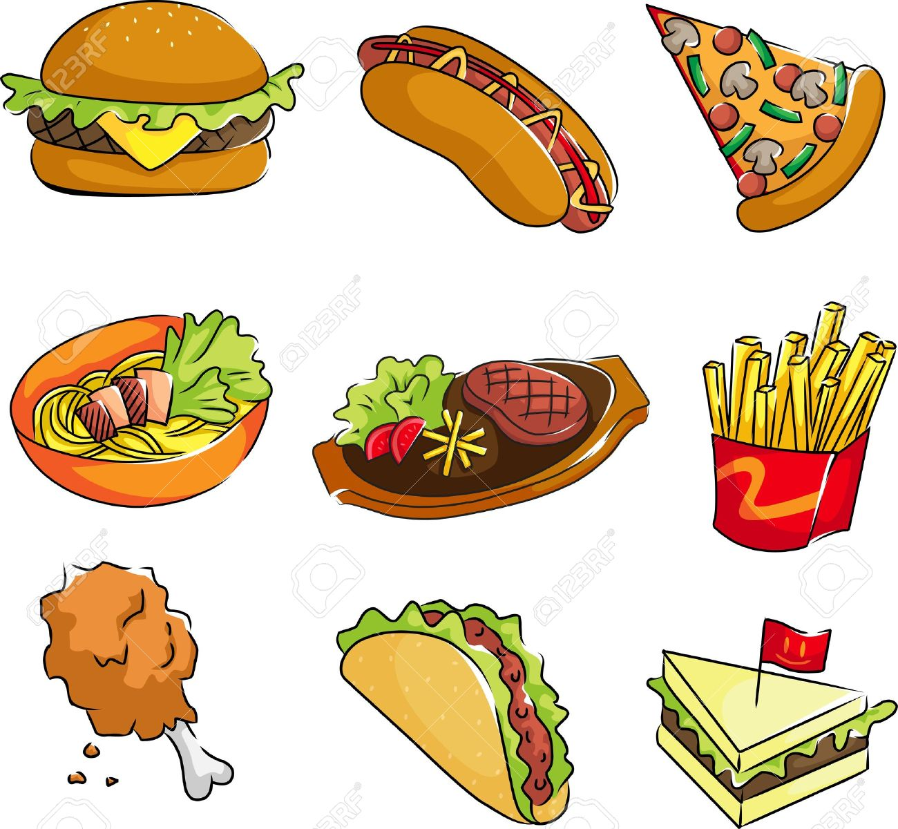 A vector illustration of fast food icons Stock Vector - 11476450