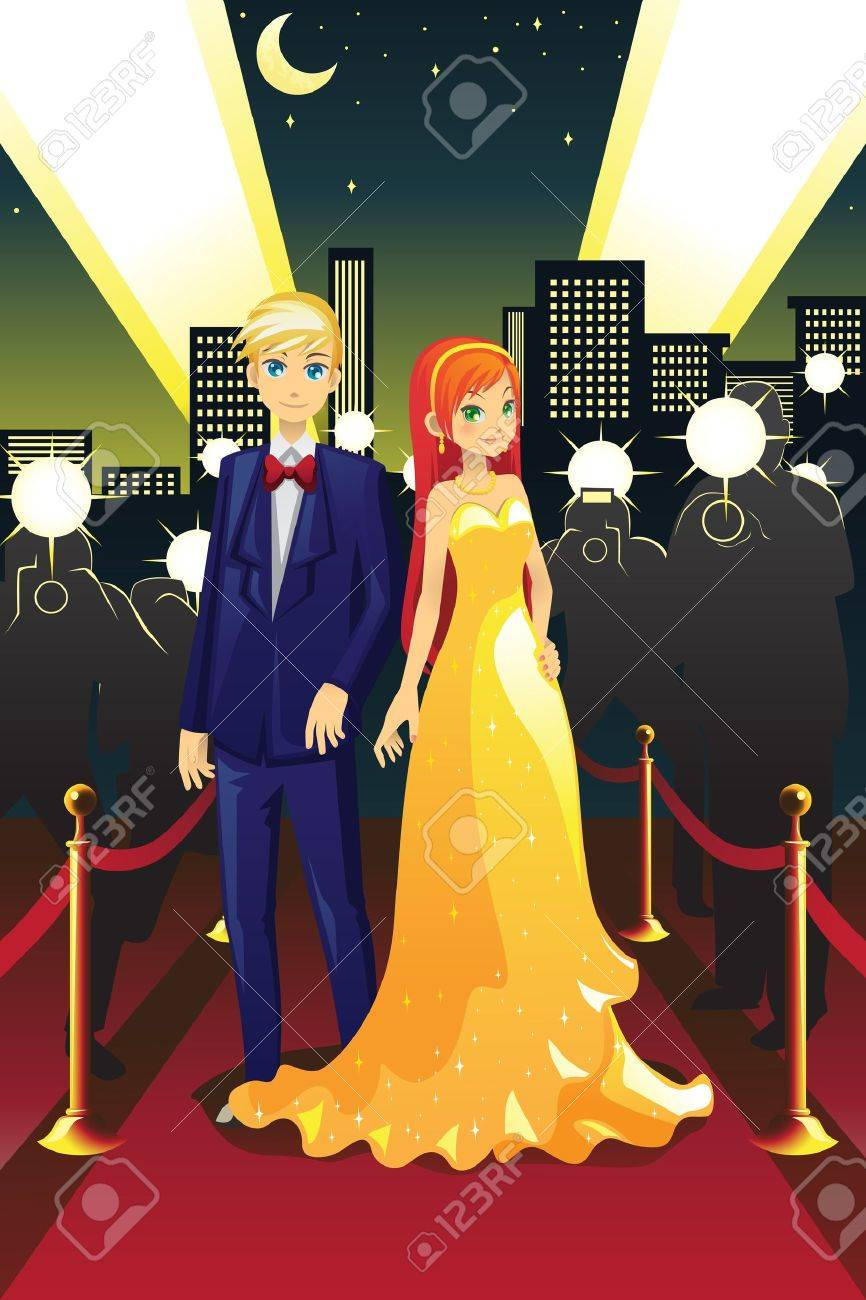 A vector illustration of a couple celebrities on the red carpet - 11578934
