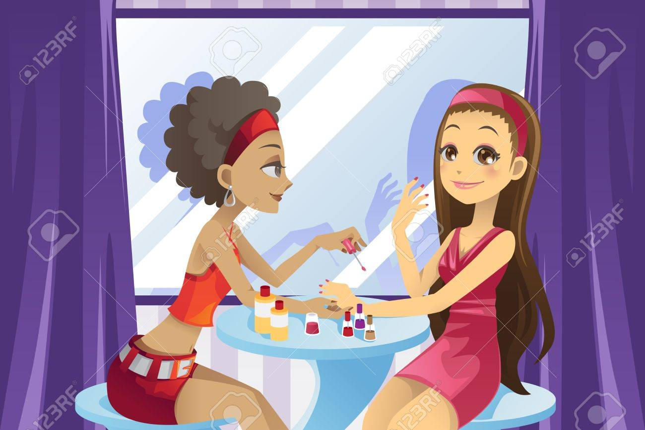 A vector illustration of a beautiful girl getting a manicure at a beauty salon Stock Vector - 11578931