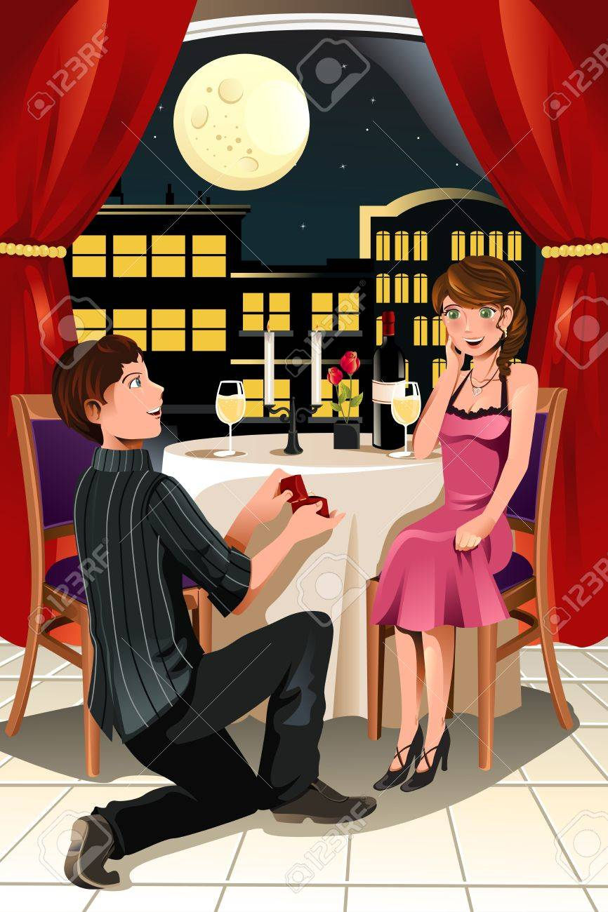 A vector illustration of a girl getting a marriage proposal from her boyfriend in a restaurant - 11764879