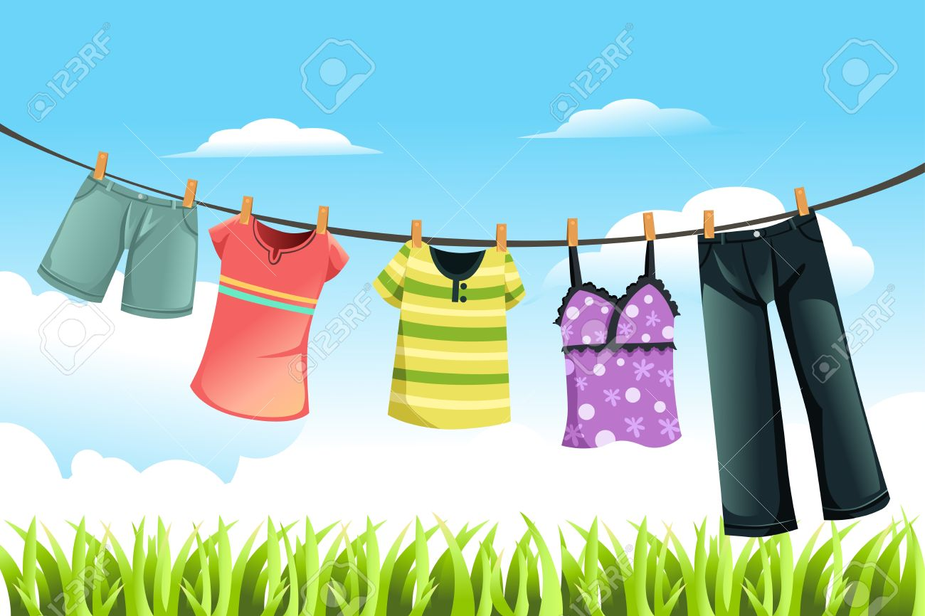 A vector illustration of clothes drying outdoor - 11764872