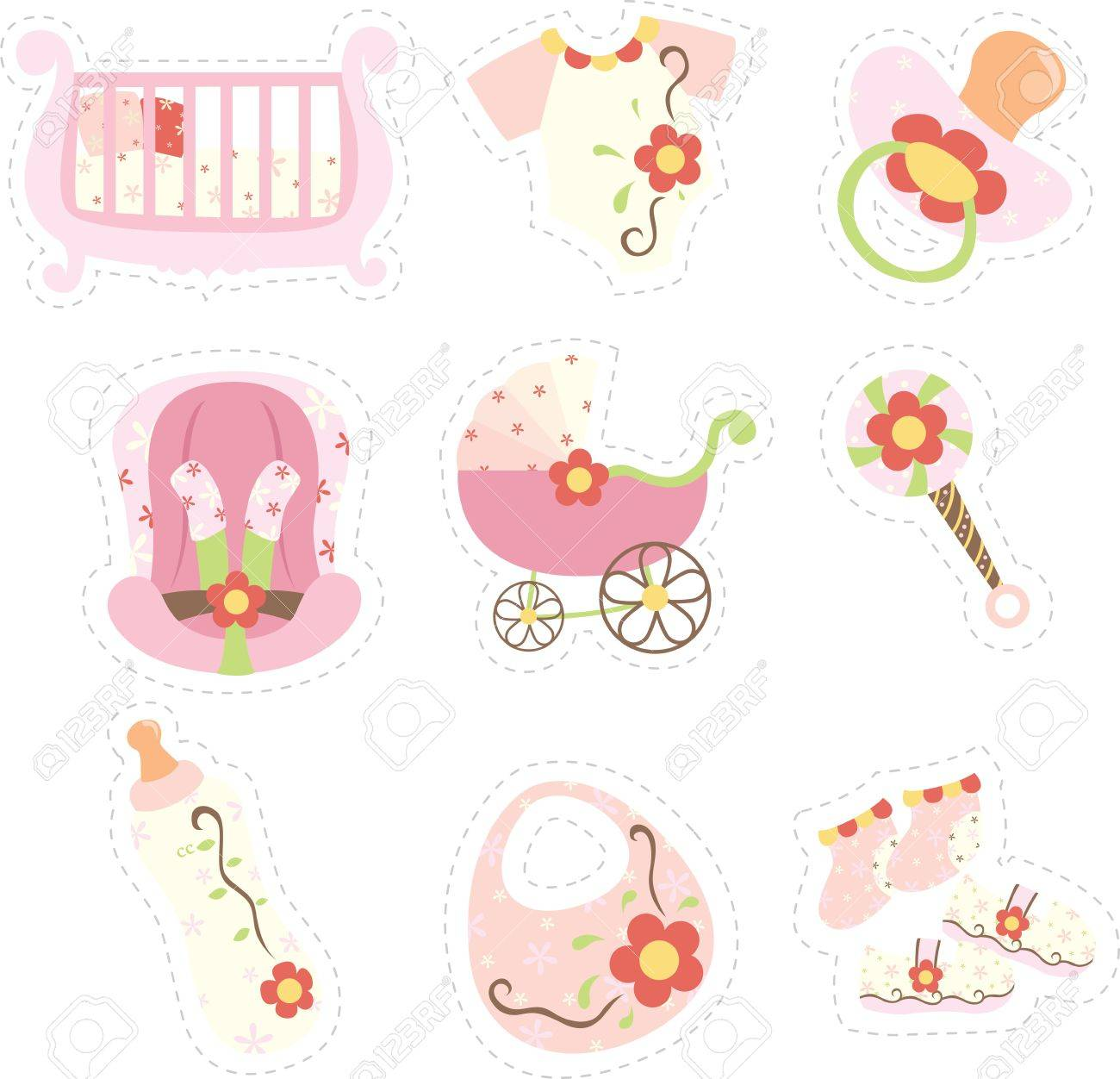 A vector illustration of baby girl items icons Stock Vector - 11764875
