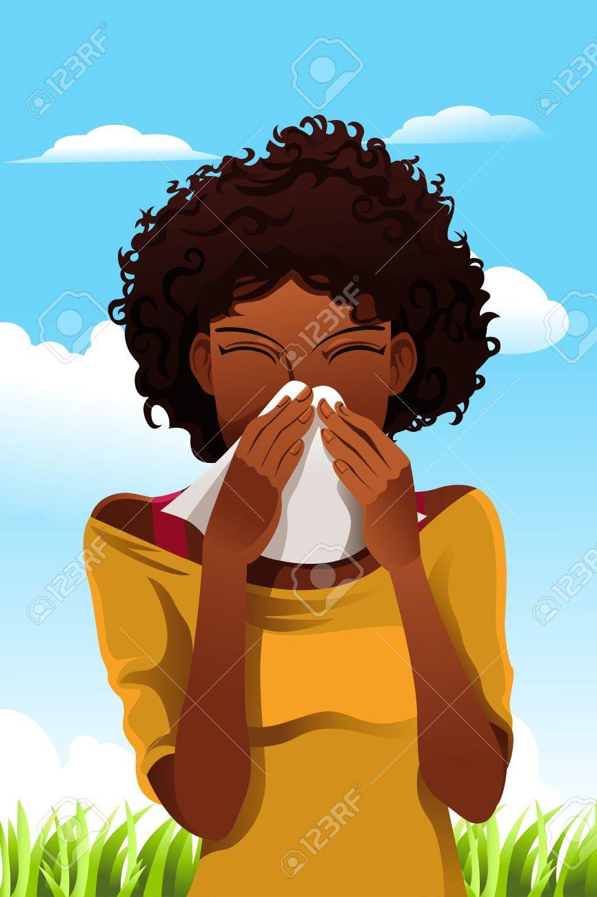 A vector illustration of a woman sneezing into a tissue outdoor - 11764903