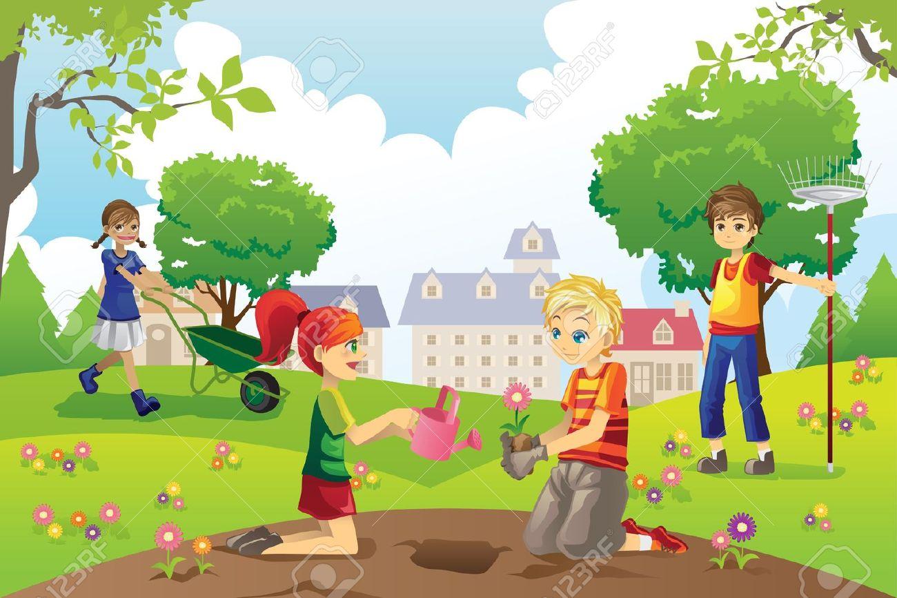 Cartoon Pics of Gardening Gardening Outside Cartoon