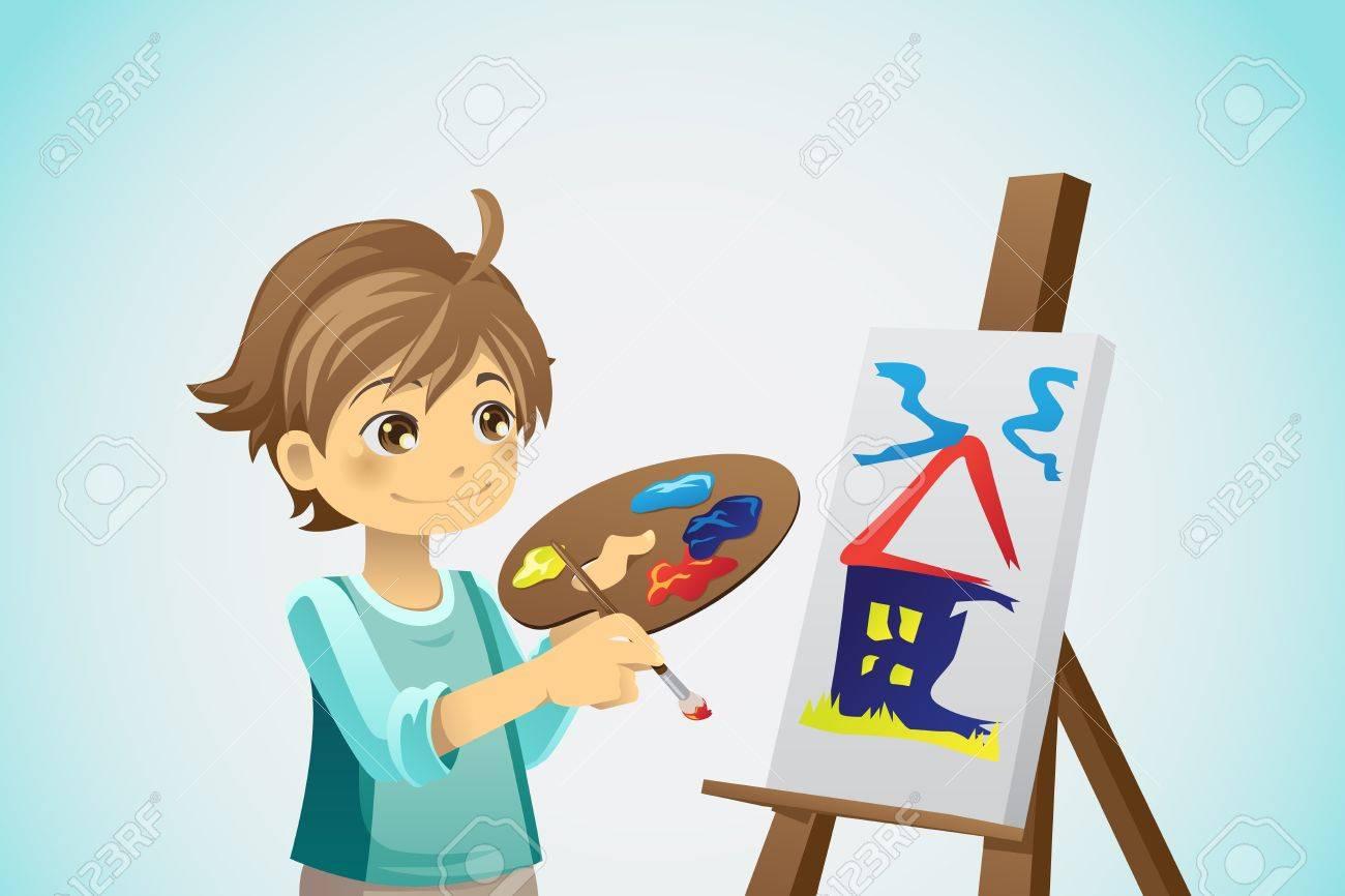Una Ilustración Vectorial De Una Pintura Para Niños En Un Lienzo ...