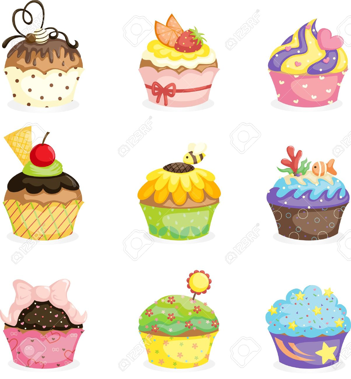 A Vector Illustration Of Different Cupcakes Designs Royalty Free
