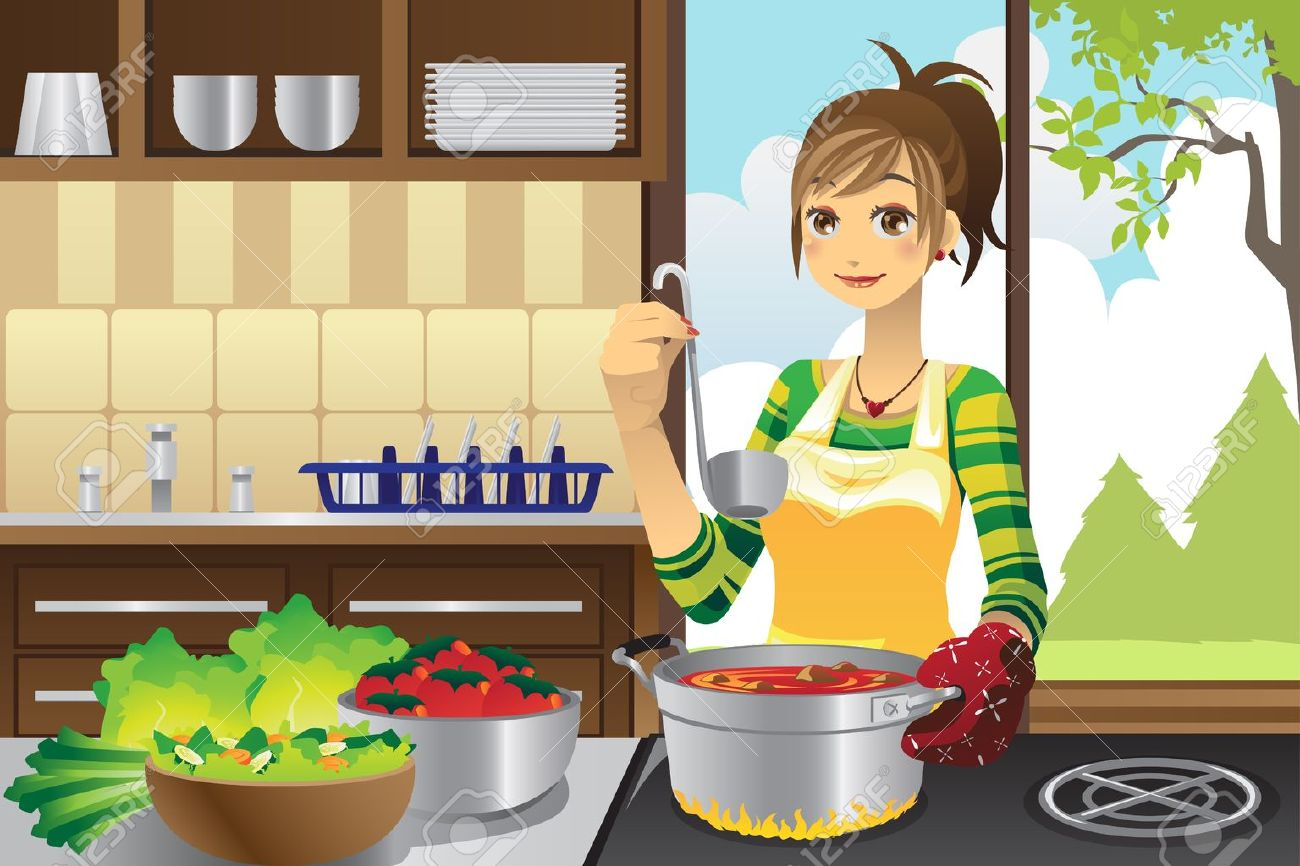 Selection of cartoons on cooking kitchens food and eating - Cooking Cartoon A Vector Illustration Of A Housewife Cooking In The Kitchen
