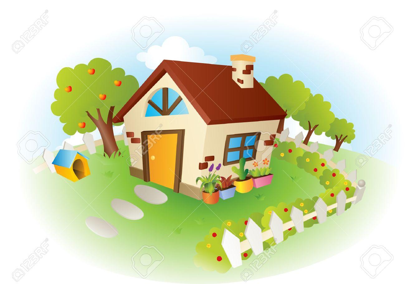 庭にかわいい小さな家のイラストのイラスト素材ベクタ Image 11930905