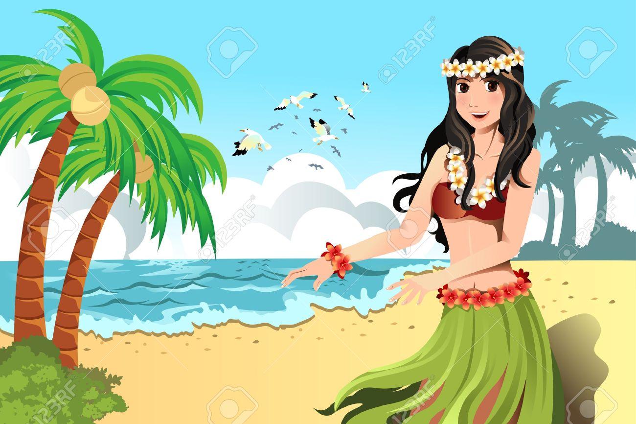 A vector illustration of Hawaiian hula dancer girl Stock Vector - 11972373
