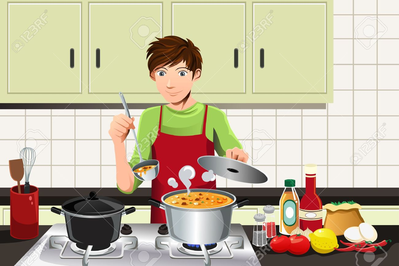 Chef Guy Kitchen Decoration Cooking Cartoon Stock Photos Pictures Royalty Free Cooking