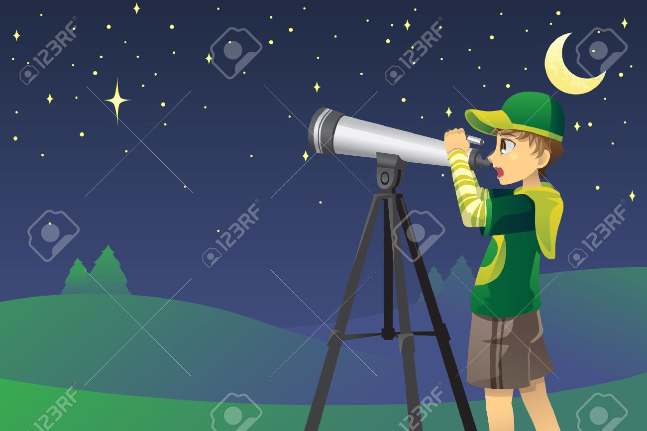 A vector illustration of a young boy looking at stars in the sky using a telescope - 11973405