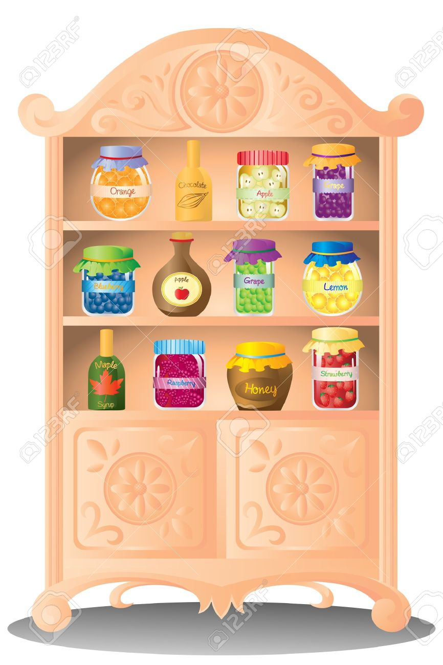 A illustration of preserves fruit jam and syrup on the shelf Stock Vector - 12145039