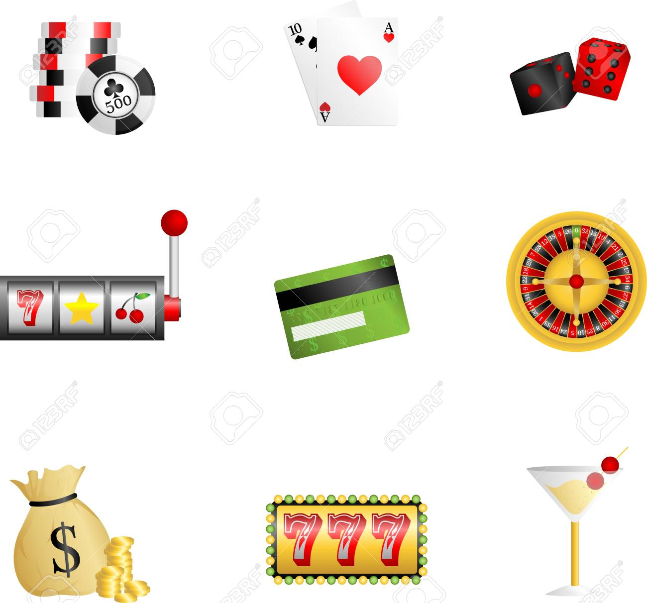 A illustration of gambling related icons Stock Vector - 12145054