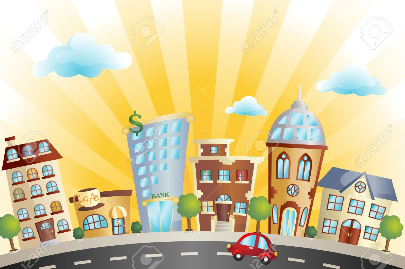 A illustration of colorful cartoon cityscape Stock Vector - 12145078