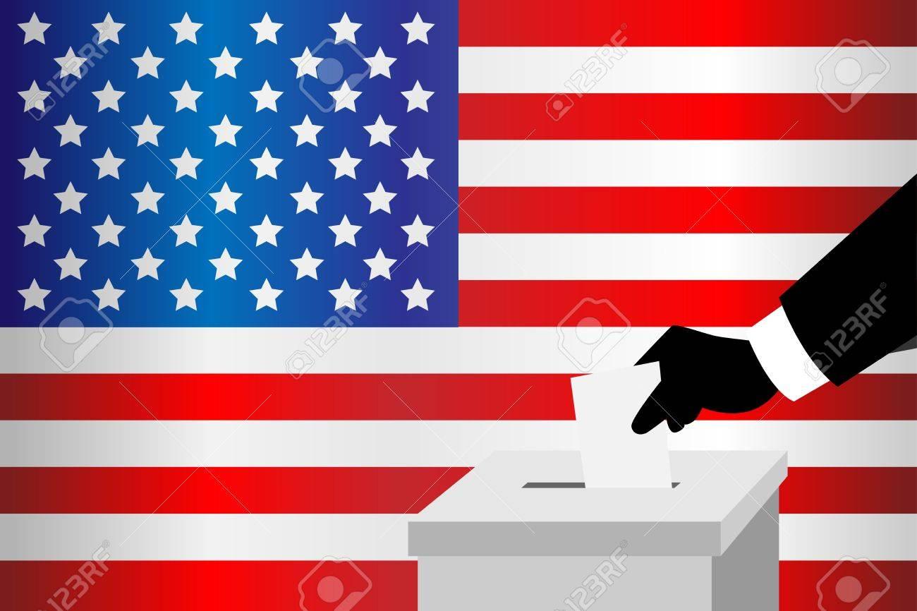 A vector illustration of a voting man inserting his ballot into the ballot box Stock Vector - 12349552