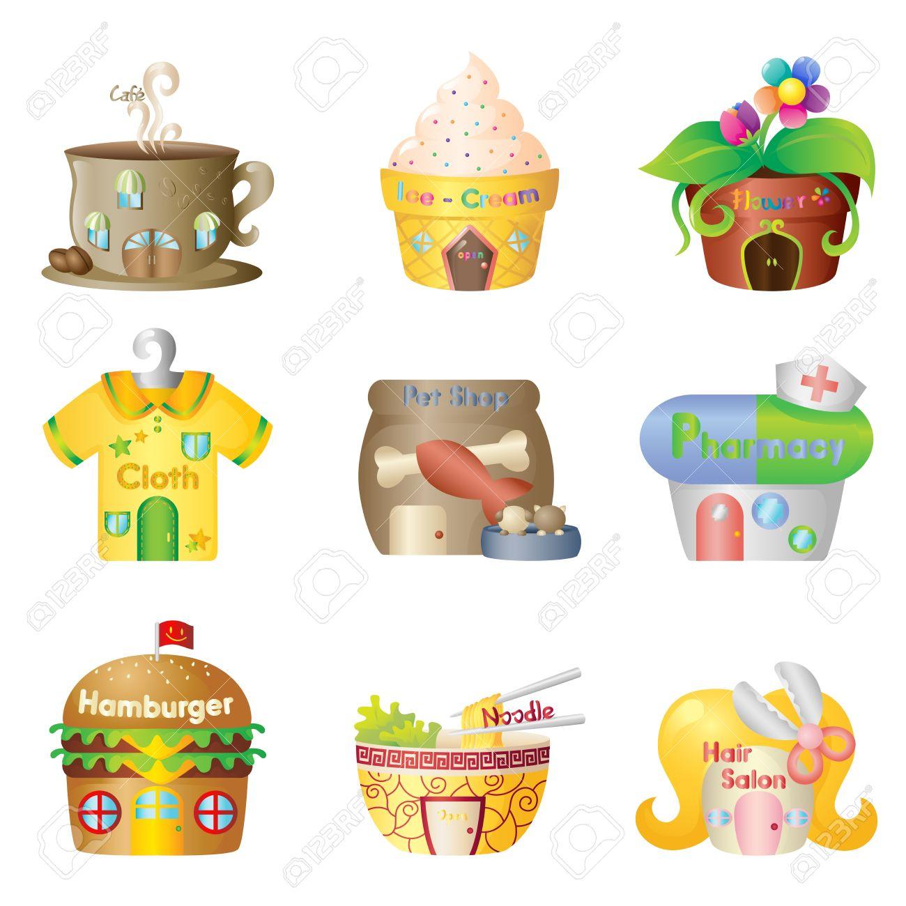 A vector illustration of cute cartoon shops Stock Vector - 12349561