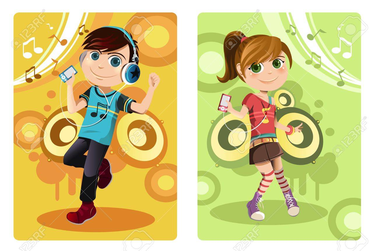 A vector illustration of a boy and a girl listening to music Stock Vector - 12349566