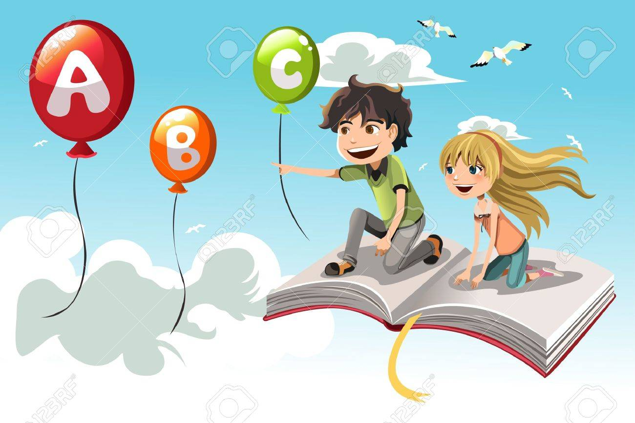 A vector illustration of two kids learning alphabet Stock Vector - 12349570