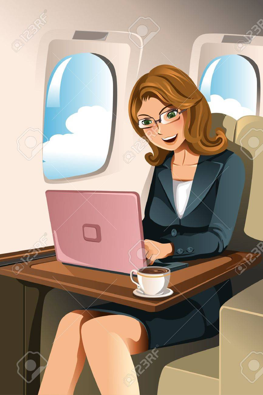 A vector illustration of a businesswoman working on her laptop in the airplane Stock Vector - 12349601