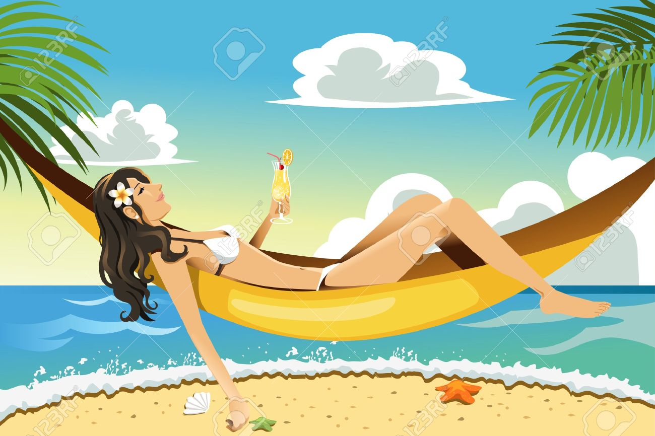 A vector illustration of a beautiful woman relaxing on a hammock on the beach Stock Vector - 12349607