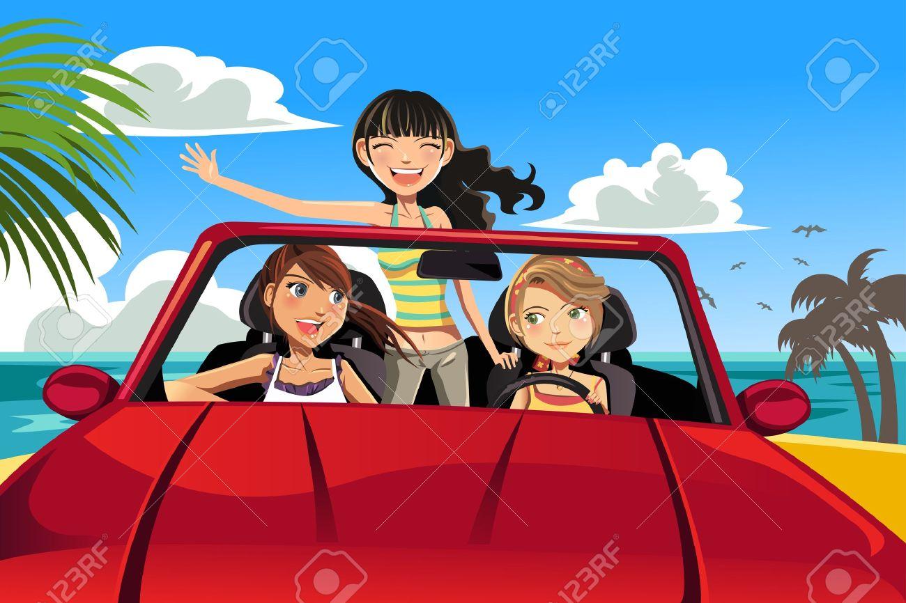A vector illustration of three female friends having fun in a car driving near a beach - 12349605
