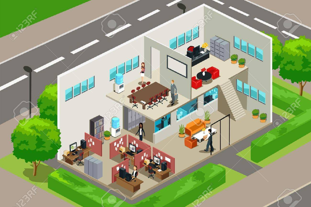 A vector illustration of an inside look of a business office Stock Vector - 12497509