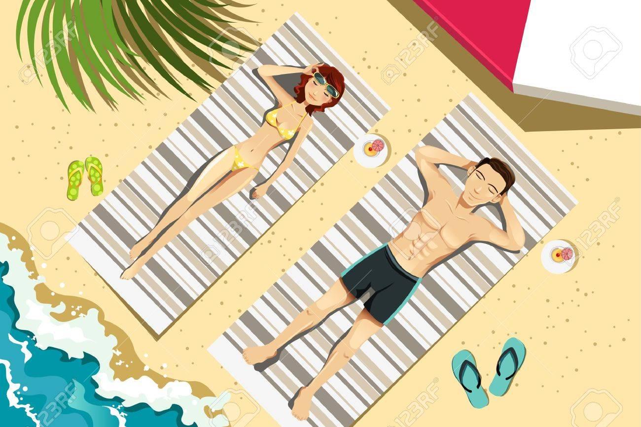A vector illustration of a couple sunbathing on the beach Stock Vector - 12497507