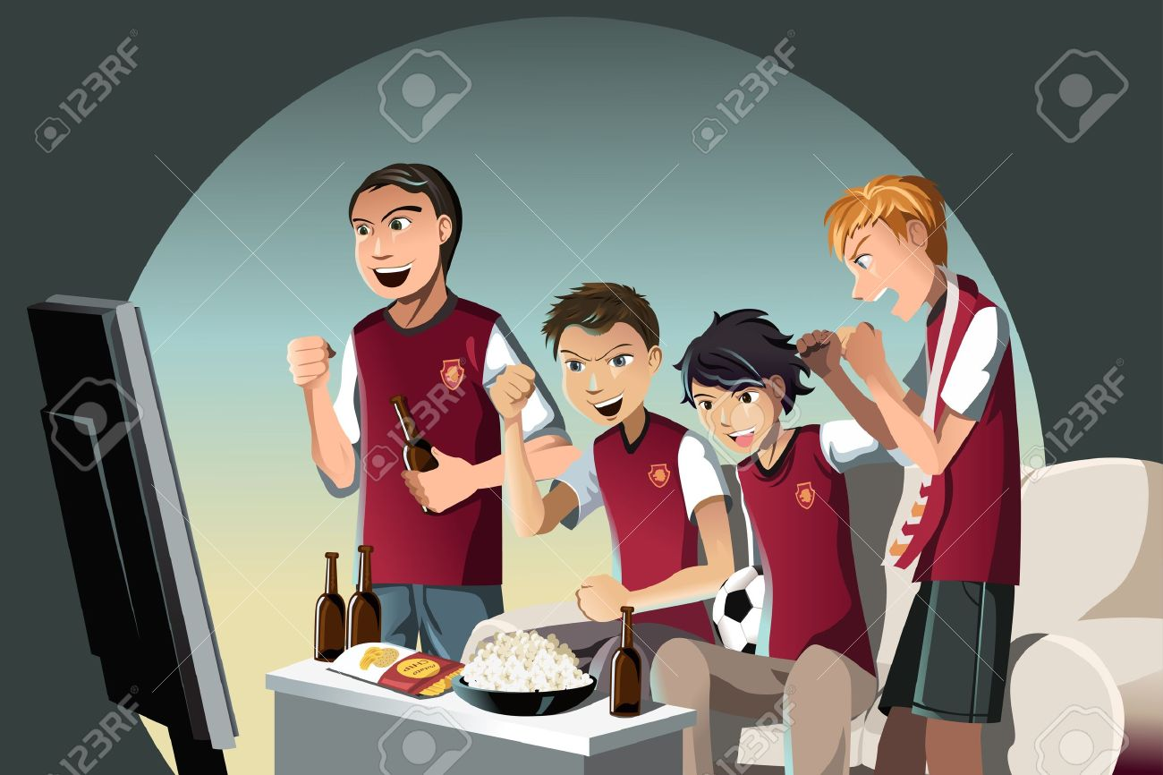 A vector illustration of soccer fans watching the game on the television - 12948631