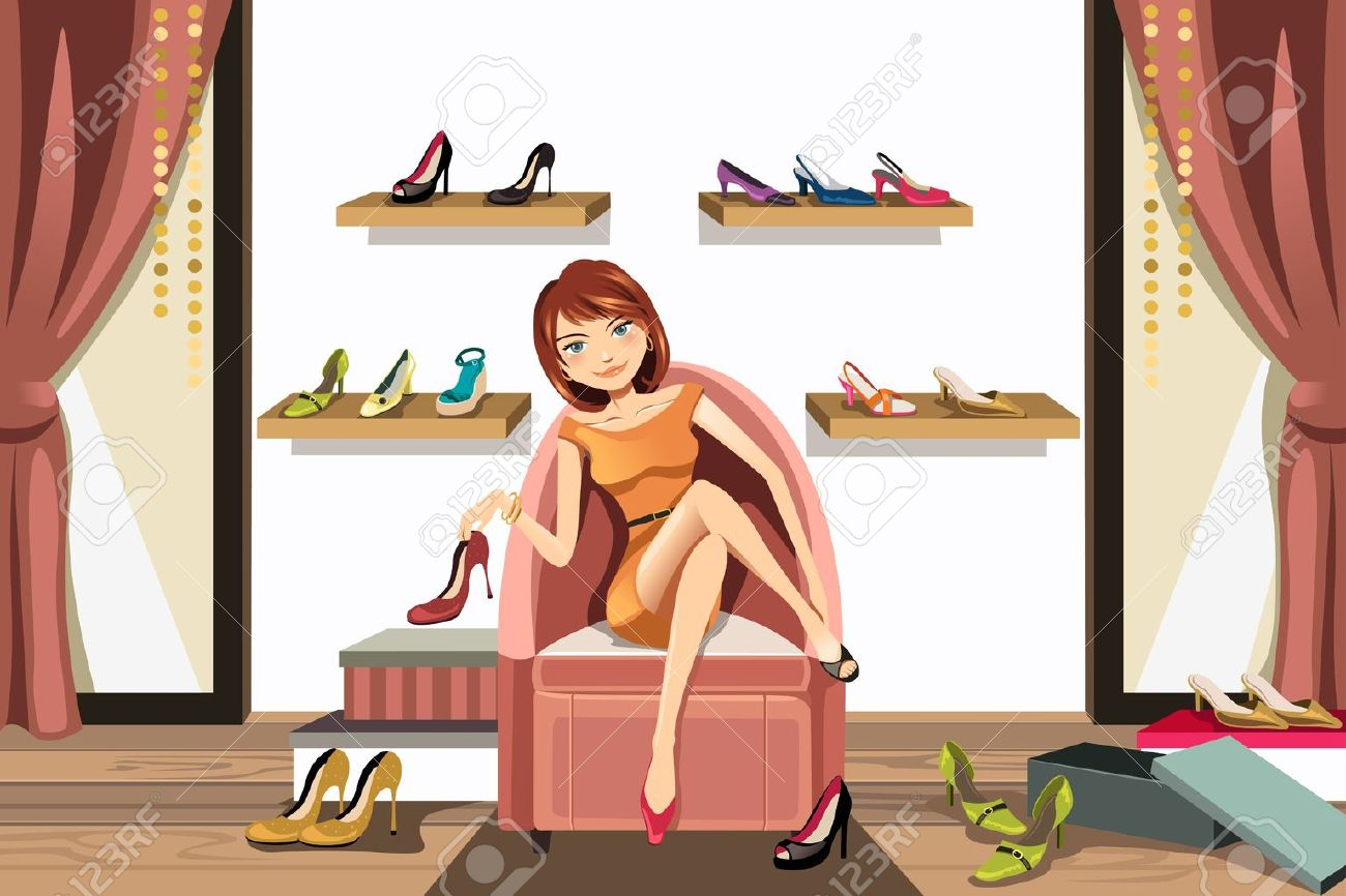 A vector illustration of a woman in a shoes store shopping for shoes Stock Vector - 12948662