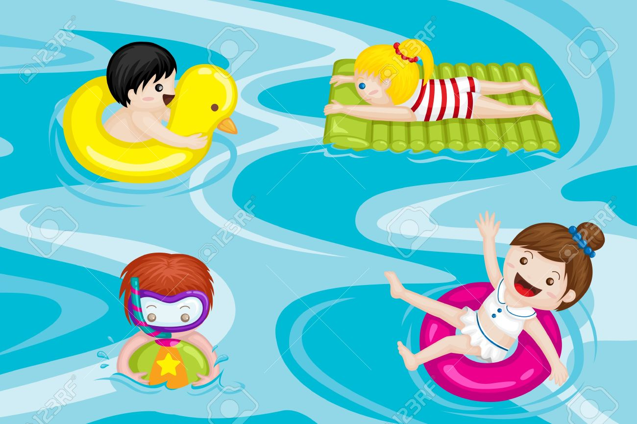 Kids Swimming a vector illustration of kids swimming in swimming pool royalty