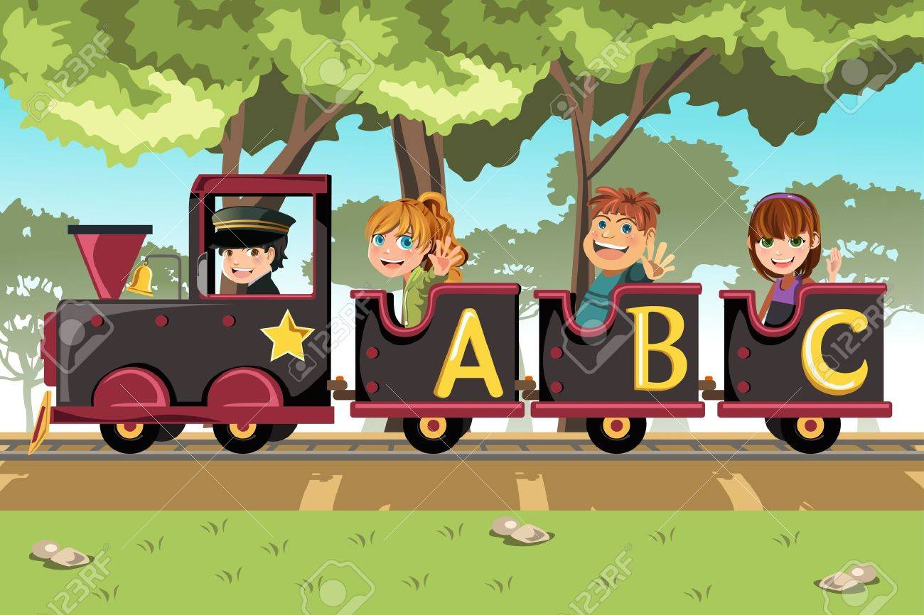 A vector illustration of a group of kids riding an alphabet train - 13319859