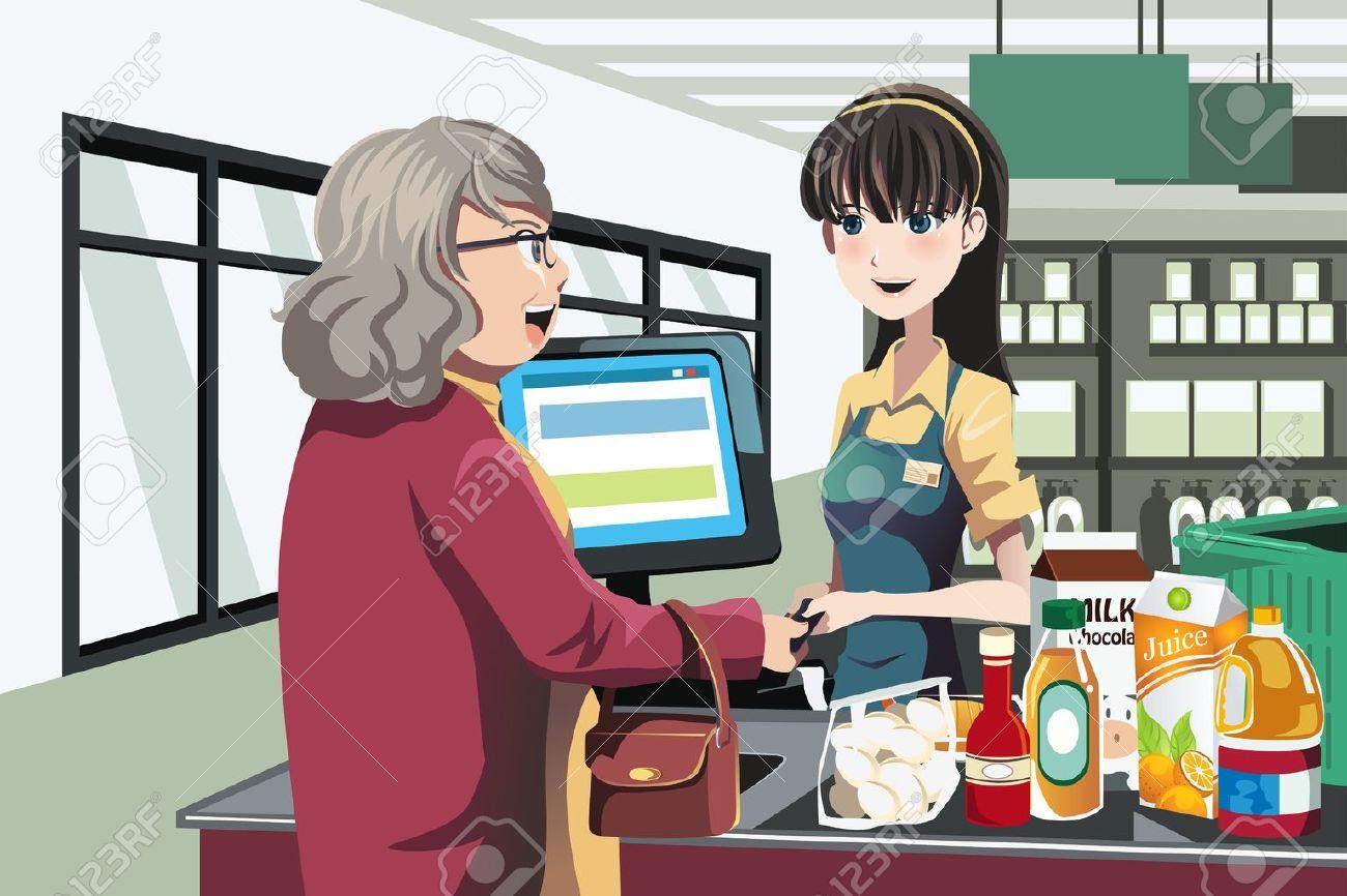 Una ilustración de una mujer de compras en un supermercado Foto de archivo - 14374153