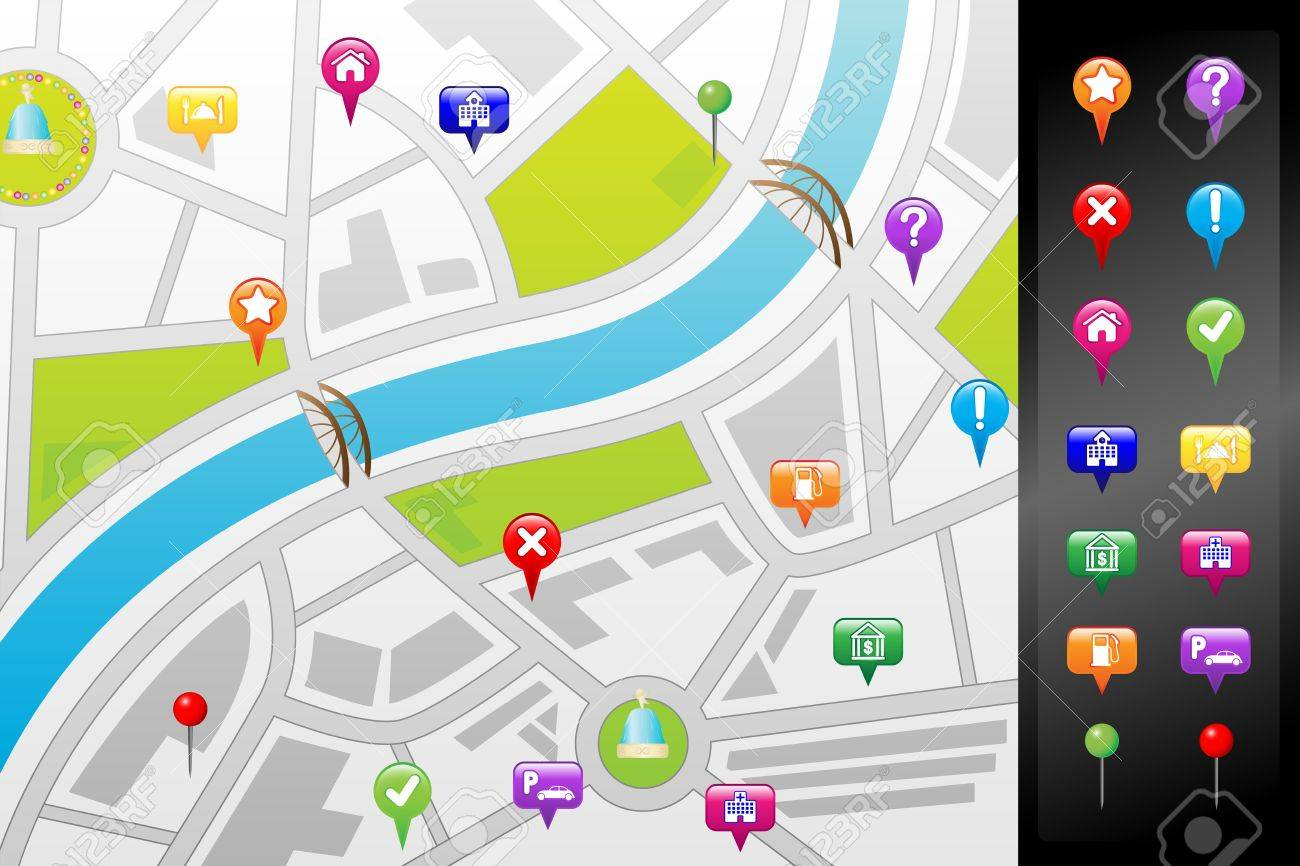 A illustration of a GPS street map with usable icons Stock Vector - 14374177