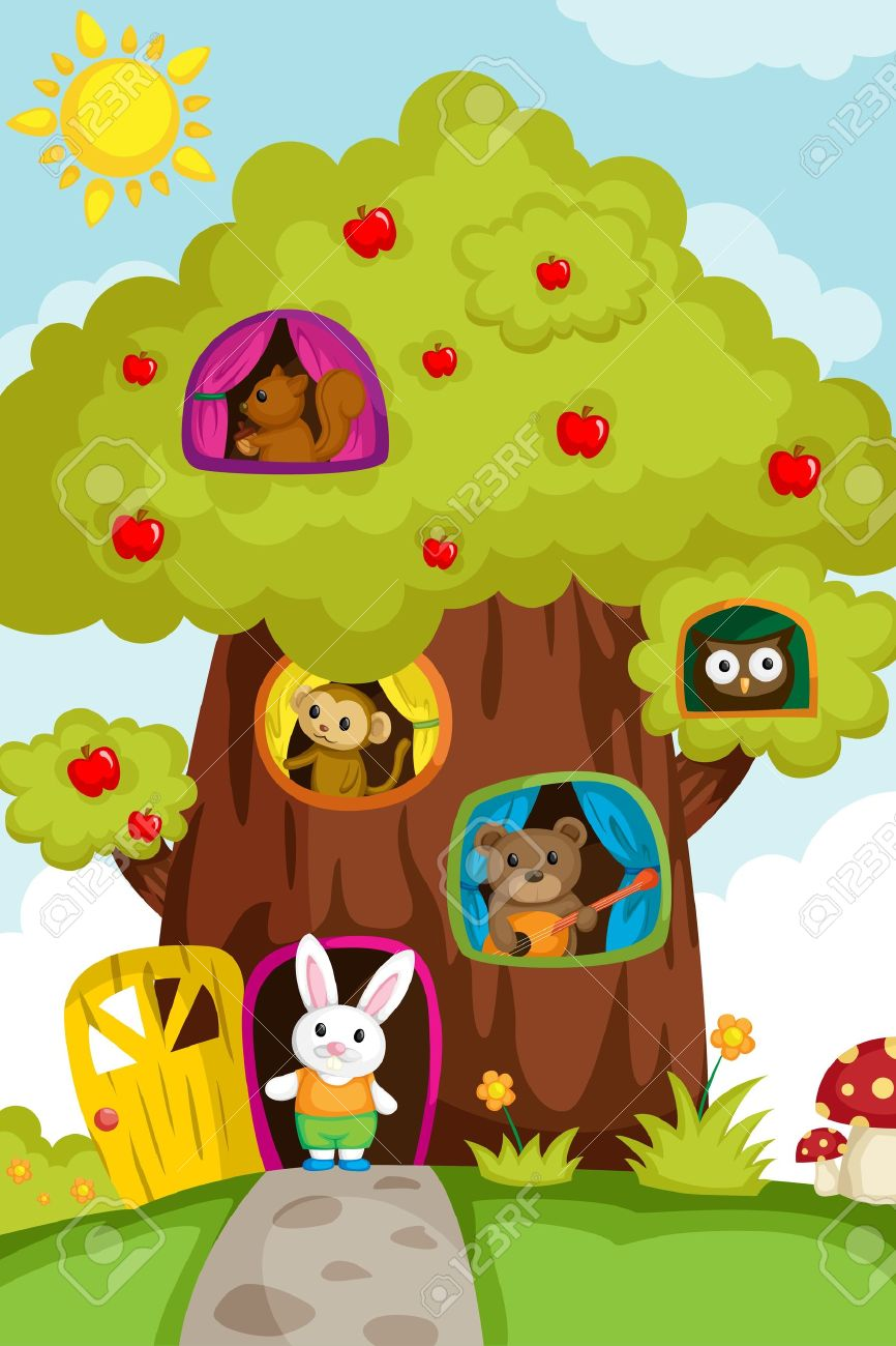 A illustration of a different animals living in a treehouse Stock Vector - 14374133