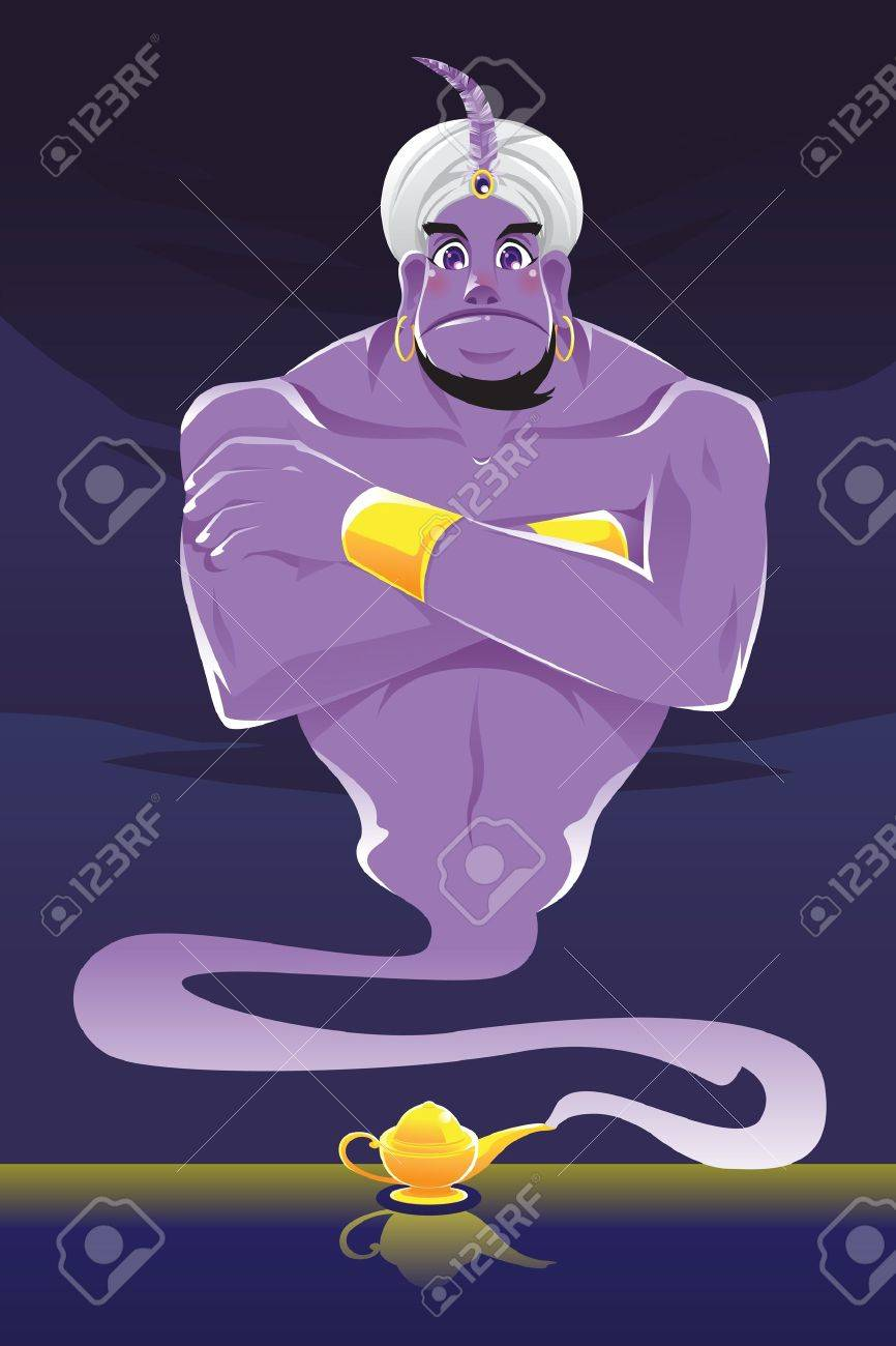 Illustration of a genie coming out of the genie lamp Stock Vector - 14676157